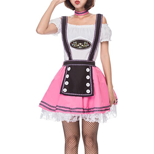 (Zhuhaitf Gefälschte Zweiteilige Prinzessin Kleid Rosa Bier Anzug Restaurant Kellner Halloween-Kostüm für Frauen)