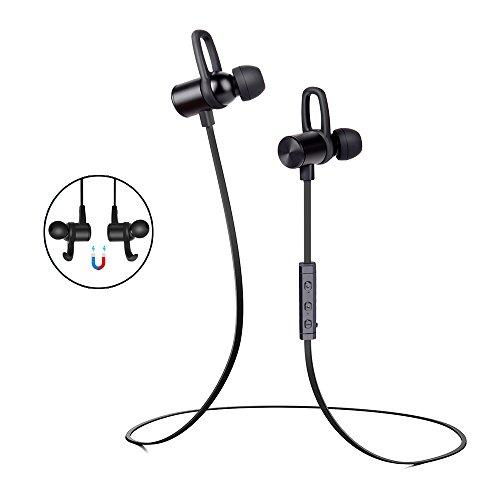 Bluetooth Kopfhörer In Ear, Wireless Kopfhörer, V4.1 Stereo magnetisches Headset, 6 Stunden Spielzeit, leichte Fernbedienung,kompatibel mit iPhone, iPad, Samsung, Nexus, HTC ect. IPX6 Schweißfeste Sport Kopfhörer mit Mikrofon für Jogging, Laufen, Fitness usw.