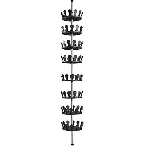 TecTake Schuhkarussell Schuhregal Teleskopregal höhenverstellbar ✔ Ebenen drehbar ✔ bietet Platz für bis zu 96 Schuhe ✔ Höhe max. 300 cm