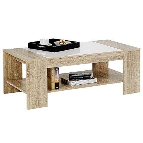 IDIMEX Table Basse de Salon Novo MDF décor chêne Sonoma et Blanc laqué Brillant