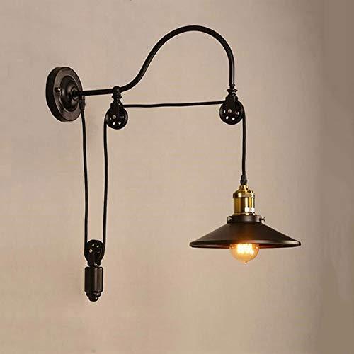 Belief Rebirth Wandleuchte verstellbare Riemenscheibe Wandleuchten Stil Schwanenhals Industrielle Vintage Leuchte mit schwarzem Finish - 1 Licht [Energieklasse A +] - Schwanenhals Vanity Licht