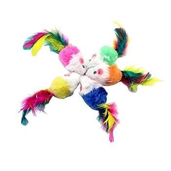 UEETEK 10 PCS Peluches Jouets pour animaux de compagnie Jouets à chat pour souris Jouets pour chat Cat Catcher avec plumes (couleurs aléatoires)