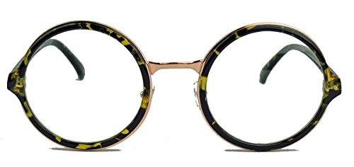 Runde Pantobrille im Vintage Stil Retro Nerd Brille Hornbrille dicker Rahmen LP41 (Hornfarbig)