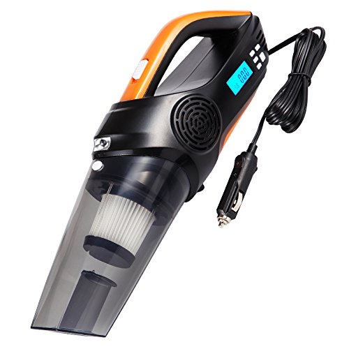 LLZXCQ Auto Staubsauger/Auto-Reiniger/Aufblasbare Pumpe/Dual-Use/Leistungsstarke/Hand-Held/Multifunktions/12V/Auto/Aufblasbare/Hand/Tragbar, Vakuum/Aufblasbar/Test Reifen Druck/Beleuchtet (Digital Display Smart Edition)