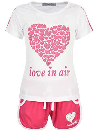 Kinder Mädchen 2Tlg. Set T-Shirt Wende-Pailletten Kurze Shorts Short Sleeve 30022 Weiß 116