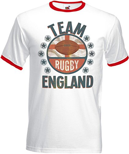 Team England Rugby Herren Mens Retro T-Shirt Perfect for World Cup & Six Nations (England T-shirt Rugby Team)