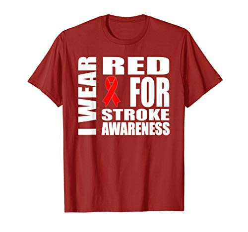 Stroke Awareness Red Ribbon Support T-Shirt (Stroke Awareness Ribbon)
