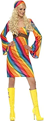 Mesdames Hippie Costume Lady déguisement ANNÉES 70disco Rainbow Complet Parti Costume - multicolore -