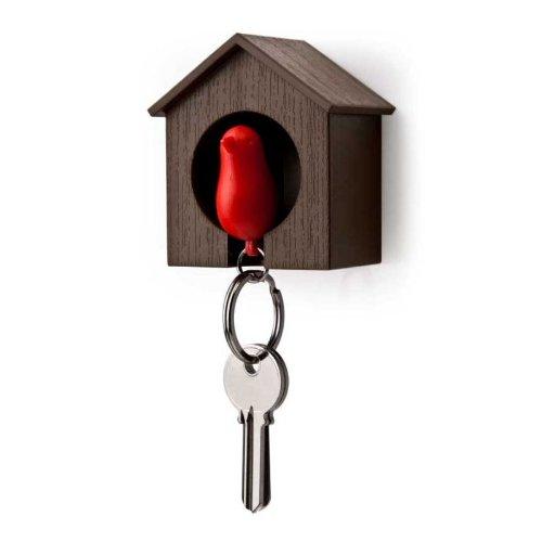 Qualy Design Schlüsselbundhalter SPARROW brown/red (Herren-schlüsselkasten)