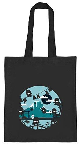 Serien natur Jutebeutel Stoffbeutel mit Action Ninjas Motiv von ShirtStreet schwarz natur