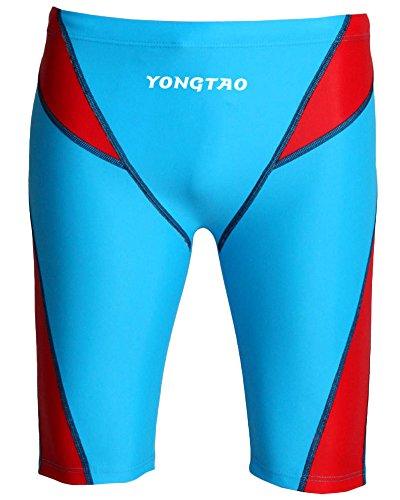 Yonglan Herren Badehosen Schwimmen Boxershorts Jammers Heiße Quellen Surfen Kurze Hose Schwimmhose Boardshorts See-Blau Rot L