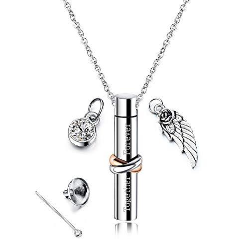 Cher Parfüm (GuoYq Collier de boîte à urne en Acier inoxydable d'aile d'ange cylindrique, commémorant Les êtres chers Les Amoureux des animaux domestiques, le Design cylindrique)