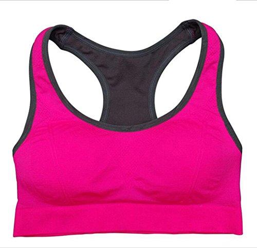 Da.Wa Brassière Soutien-Gorge de Sport Yoga Push Up Rembourre Sans Armature Underwear Bra Rose rouge