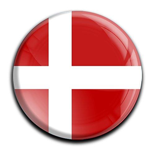 """Top Kühlschrank-Magnet - Durchmesser 4,0 cm - aus Metall mit starkem Neodym-Magnetem und hochglänzender Kunstharzbeschichtung in runder Form """"Flagge Dänemark"""" von metALUm - tolles Geschenk für Dänemark - Fans"""