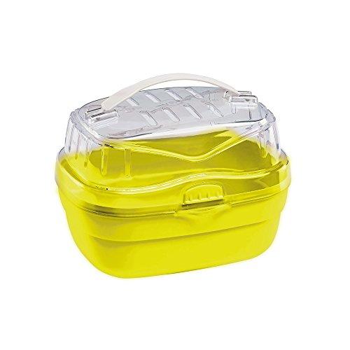 Ferplast Transportbox für Hamster und andere kleine Nagetiere Aladino Small Reisekäfig für Hamster, widerstandsfähiger Kunststoff, komfortabler Griff, sicherer Verschluss, 20 x 16 x 13,5 cm, grün