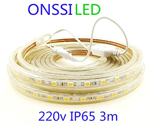 Strisce LED Smd5050 220v 60 Led/m (3 metri) Luce Calda 3000k Impermeabile Ip65 Con Spina ONSSI LED