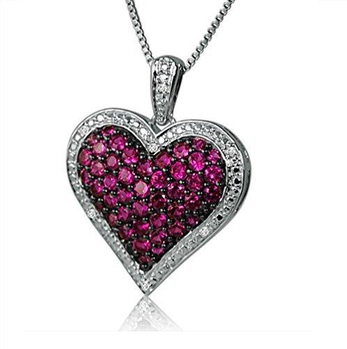 Amanda rosa colección Mujer 1ct Rubí y Diamante ahuecado, collar con colgante de corazón en plata de ley en una caja de 18pulgadas Cadena