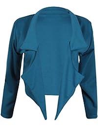 Womens New Plain Long Sleeves Ladies Front Open Style Cropped Shrug Bolero Blazer Jacket