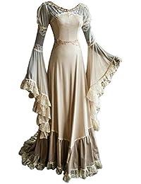 Beutyshop #Prime Day# Damen Langarm Mittelalter Kleid-Gothic Viktorianischen Königin Kostüm mit Spitze Weiß
