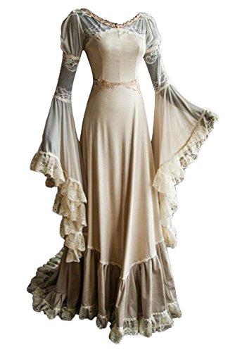 # Damen Langarm Mittelalter Kleid-Gothic Viktorianischen Königin Kostüm mit Spitze Weiß ()