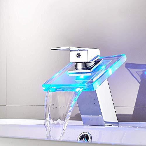 Moderno Cascada vidrio Faucet LED Chrome Faucet Baño