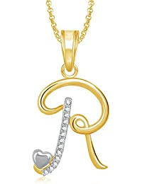 Meenaz Gold Plated 'R' Letter Pendent Locket Alphabet Heart With Chain For Men And Women PS323