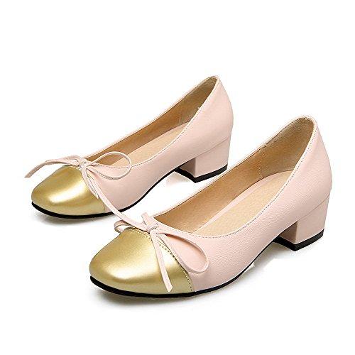 VogueZone009 Femme Couleurs Mélangées Pu Cuir à Talon Bas Carré Tire Chaussures Légeres Rose