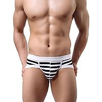 Tongshi Los hombres de algodón a rayas pantalones cortos de la ropa interior de los boxeadores de los hombres calzoncillos Calzoncillos suaves (A, M)
