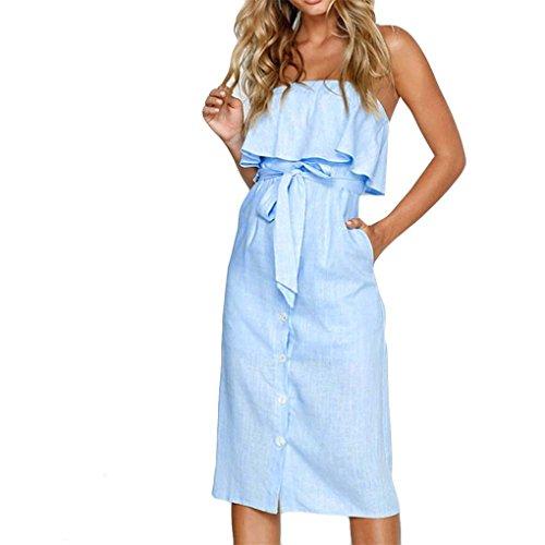 (JYJMWomens Off Schulter Bardot Midi Kleid Damen Sommer Rüschenband Rüschenkleid Dress Kurz Kurzes Tuchkleid Sommer Strandkleider (L, Himmel-Blau))