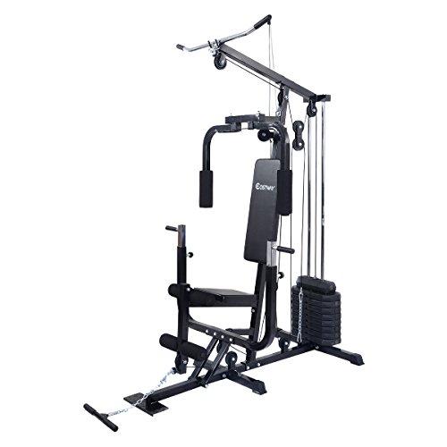 COSTWAY Kraftstation Fitnessstation Multistation Fitnessgerät inkl. Gewichte Schwarz