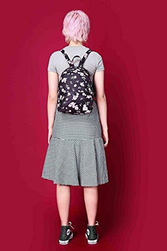 OLETHA Zaino Piccolo Mini Borsellino per Donna | A4 formato | 34x23x11cm | Rose grigio D212I, Rose nere
