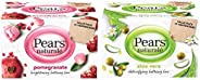 Pears Naturalé Pomegranate Brightening Bathing Soap Bar, 125 g (Pack of 3) & Pears Naturalé Aloe Vera Detoxifying Soap Bar,