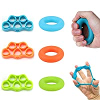 Woot Direct Hand Grip Strengthener and Finger Stretcher 6 Pcs Strength Trainer for Forearm Exercise, Guitar Finger Strengtheners and Rock Climbing
