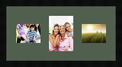 Bilderrahmen multivues Vert foret 2 Foto(s) 13x10 and 1 Foto(s) 13x18 Passepartout, Wand Bilderrahmen 50x25 cm Schwarz, 3 cm breit