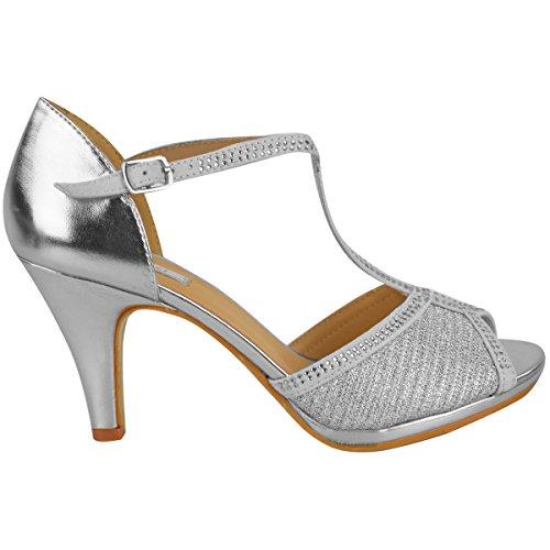 Donna Scarpe Da Sposa Ballo Tacco Alto Diamante Festa Sandali Taglia Argento metallizzato