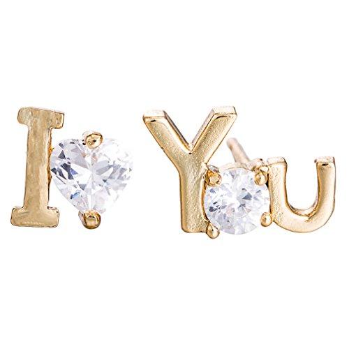 YAZILIND Elegant Ich liebe dich Form Gold überzogene weiße Zirkonia Ohrstecker für Frauen