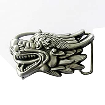 Boucle tête de dragon, 3D, Fantastique, argent, boucle de ceinture