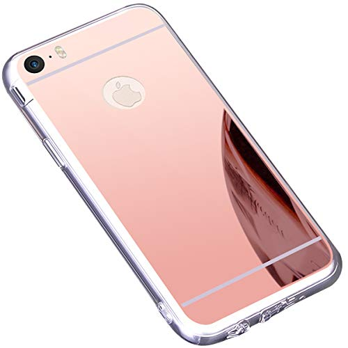 Coque iPhone 5S,Coque iPhone SE,Miroir Housse Coque Silicone TPU pour iPhone 5S,Surakey Bling Briller Diamond Coque Effet Miroir Etui TPU Téléphone Coque de protection pour iPhone SE/5/5S, Or Rose