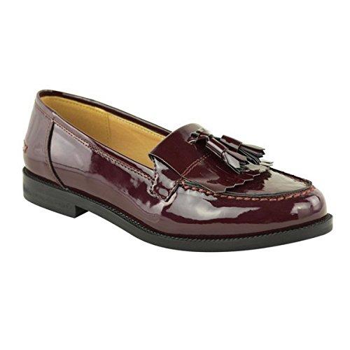 OUTOFGAS CLOTHING POMPONS LOAFERS PLAT SMART CASUAL L'ÉCOLE, LE TRAVAIL DE BUREAU TAILLE - Bordeaux Patent / Tassel
