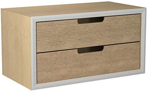 DRULINE Mini Kommode Modern Schränkchen Aufbewahrungsschrank mit 2 entnehmbaren Schubladen aus Holz Stauraum Ablagefläche Büro Wohnzimmer Küche   30 x 15 x 16 cm  Hellbraun