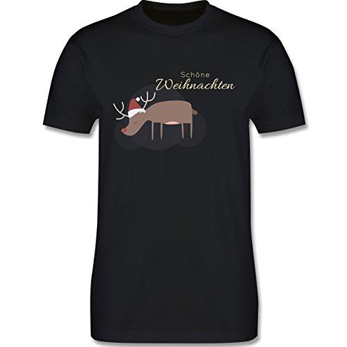 Weihnachten & Silvester - Schöne Weihnachten Elch Weihnachtsmütze - Herren Premium T-Shirt Schwarz