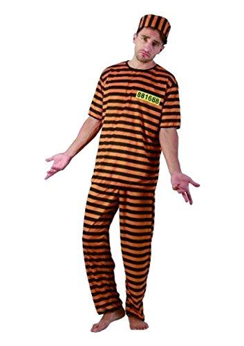 Robbers And Kostüm Dress Fancy Cops - Adults Prisoner Convict Orange Black Stripe Fancy Dress Costume - One Size