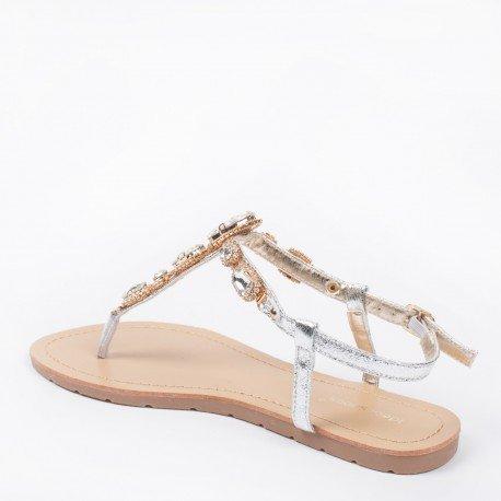 Ideal Shoes - Nu-pieds effet pailleté et incrusté de strass Venda Argent