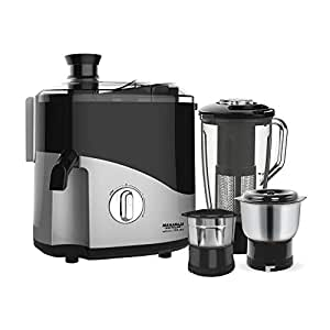 Maharaja Whiteline Jmg Odacio Plus 450-Watt Juicer Mixer Grinder with 3 Jars (Black/Silver)