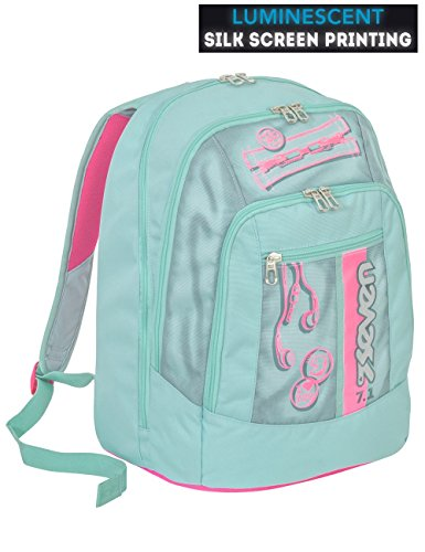 12b28b1374 Zaino scuola advanced SEVEN - COLORFUL GIRL - Rosa Azzurro - SERIGRAFIA  FOTOLUMINESCENTE - 30 LT