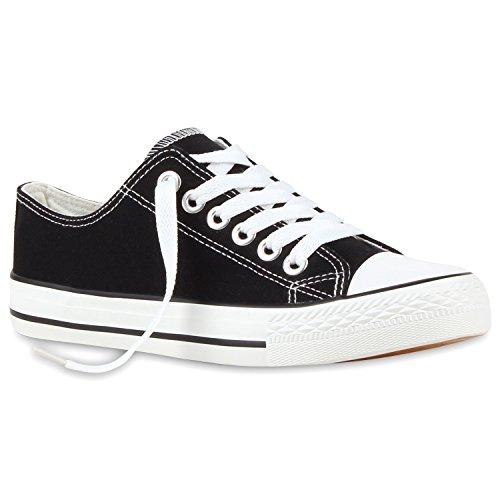 Bequeme Damen Sneakers Low Canvas Freizeit Turn Schuhe 116498 Schwarz 40 | Flandell®