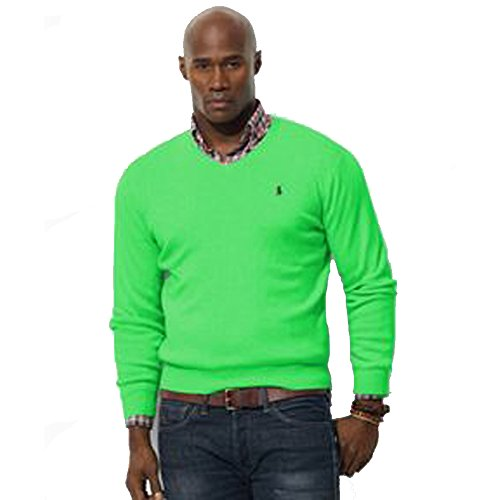 Ralph Lauren Herren Jersey Pima V-Neck (L, Optic Lime)