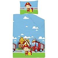KiGATEX Premium Kinderbettwäsche Feuerwehr 40x60 + 100x135 cm 100% Baumwolle mit Reißverschluss Öko-Tex 100 zertifiziert