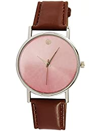 Talgo Collection Single Dialmond Studded Analog Brown Round Dial Brown Leather Strap Watch For Girls And Woman