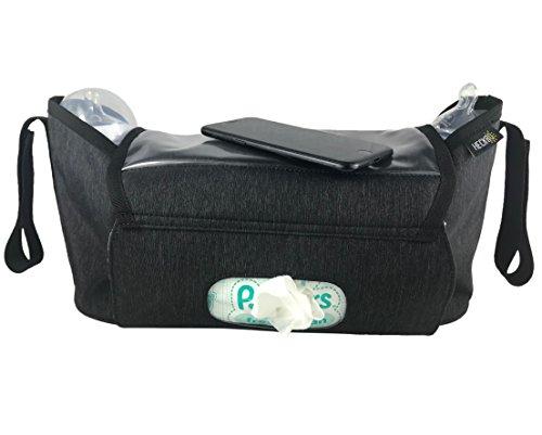 Kinderwagentasche & Buggy Organizer Tasche   inkl. Smartphone-Tasche & Feuchttuch-Tasche   wasserabweisendes, stabiles Material   Babby Aufbewahrungstasche, Stroller Organizer, Kinderwagen Zubehör - HECKBO